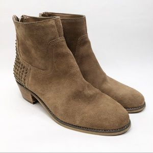 Marc Fisher Tan Suede Booties with Studs
